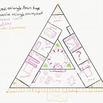 First finished sketch of triangular dream house